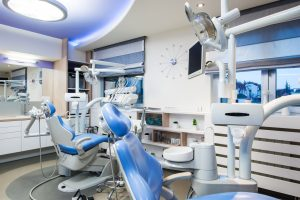 dental office interior design with chair and tools